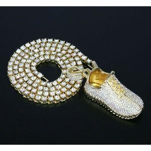 "Iced Retro Shoe Brass Pendant & 18"" One Row Chain"